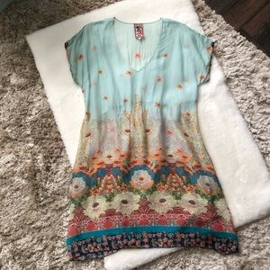Johnny Was Floral Rayon Dress Cover up Tunic L